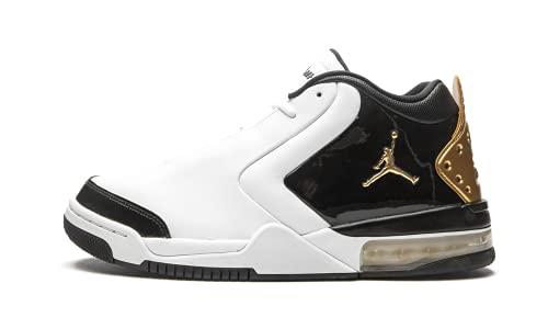 Jordan Air Big Fund Premium White Metallic Gold Black Men's...