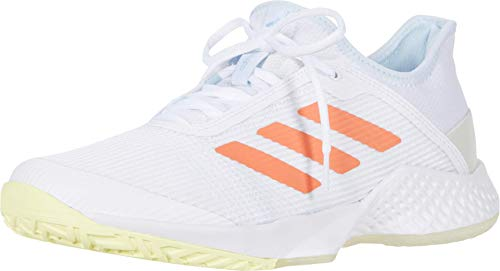 adidas Women's Adizero Club Tennis Shoe, White/Amber Tint/Sky...