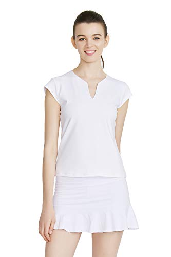 Tennis Shirts for Women Short Sleeves, Solid Golf T Shirts V-Neck...