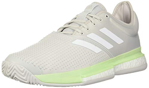 adidas womens Solecourt Boost Tennis Shoe, Glow Green/White/Grey,...