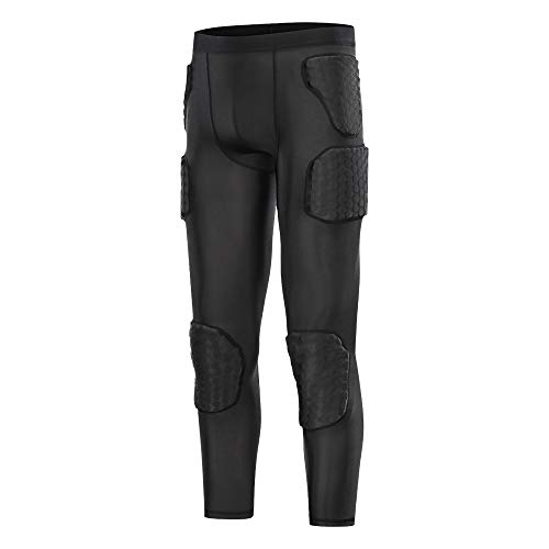 TUOY Men's Padded Compression Pants Quick Drying Tight Protective...