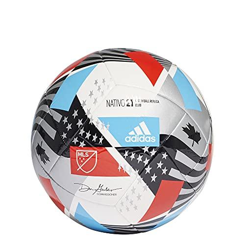 adidas MLS Club Soccer Ball,White/Black/Silver Metallic/Pantone,5