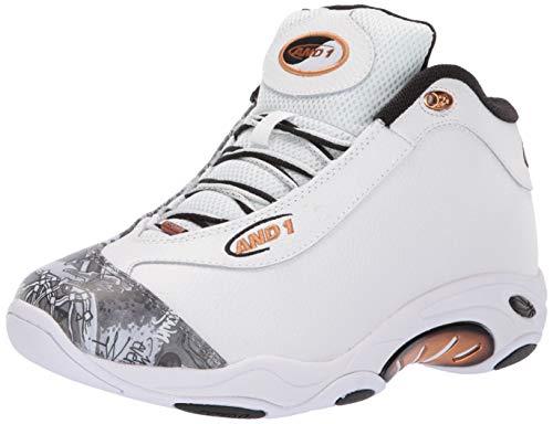 AND 1 Men's Tai Chi LX Sneaker, White/Mixtape Graffiti/Copper, 7