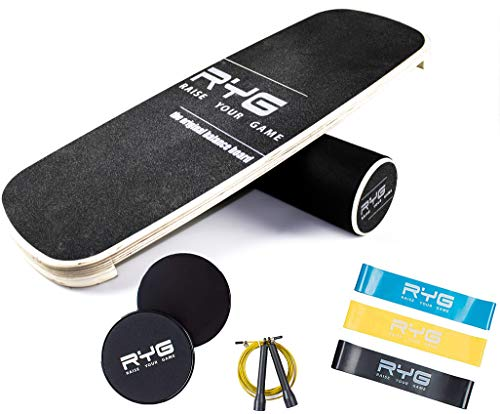 Raise Your Game Balance Board Trainer Agility Set, Wooden Wobble...