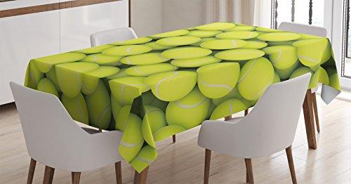 Ambesonne Sports Tablecloth, Heap of Tennis Balls Hobbies...