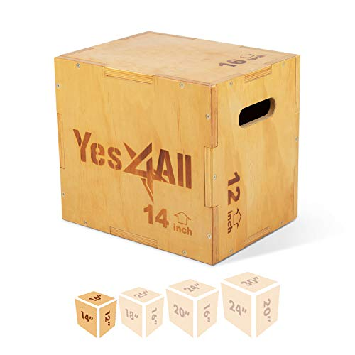 Yes4All Wood Plyo Box/Wooden Plyo Box for Exercise, Crossfit...