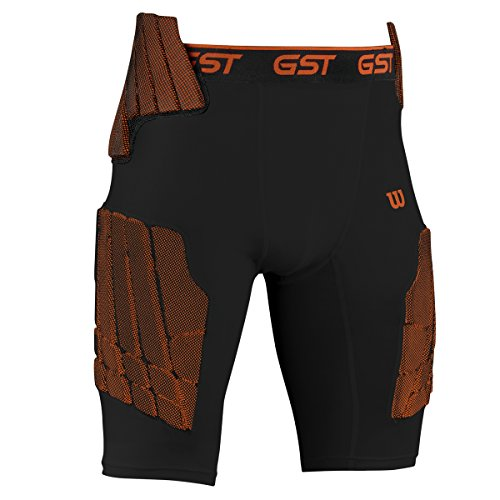 Wilson Adult GST 5-Pad Football Girdle (Black, X-Large)