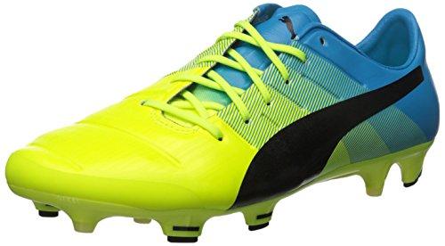 PUMA Men's Evopower 1.3 Firm Ground Sneaker, Safety Yellow/Black,...