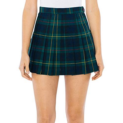 American Apparel Women's Tennis Skirt, Green Plaid, X-Large