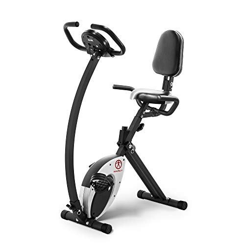 Marcy Foldable Recumbent Exercise Bike with High Backrest and...