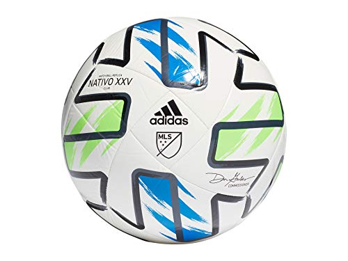 adidas MLS Club Soccer Ball, White/Solar Green/Glory Blue/Black,...