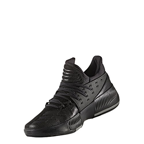 adidas Men's Dame 3 Basketball Shoe (12, Black/Black/Grey)