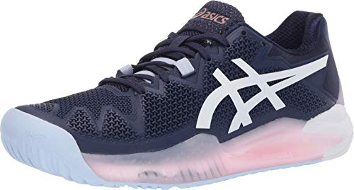 ASICS Women's Gel-Resolution 8 Tennis Shoes, 8.5M, Peacoat/White