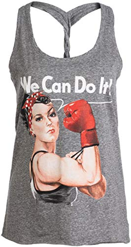 Rosie The Boxer | Funny Riveter Kickboxing Kick Boxing Racerback...