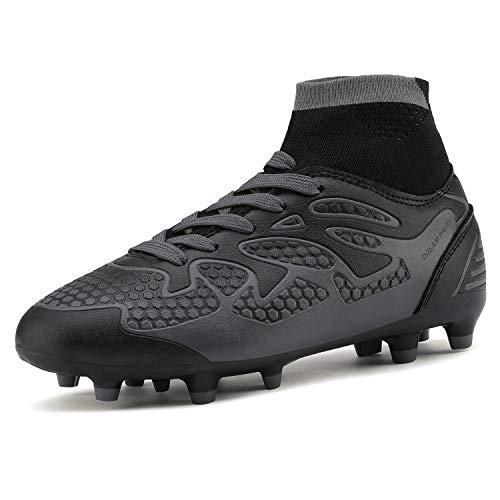 DREAM PAIRS Big Kid 160858-K Black Dark Grey Fashion Soccer...