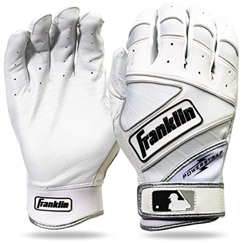 Franklin Sports MLB Powerstrap Batting Gloves, Pearl/White -...