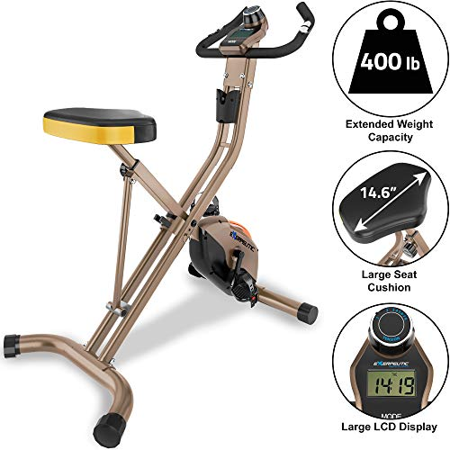 Exerpeutic Gold Heavy Duty Foldable Exercise Bike with 400 lbs...