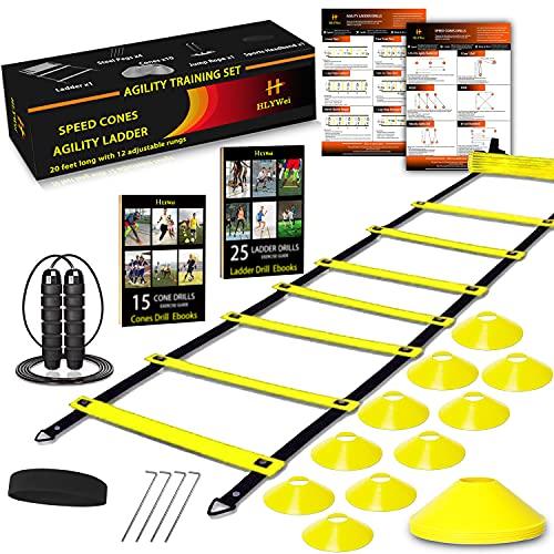 Speed Agility Training Set, Includes 1 Agility Ladder, 4 Steel...