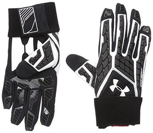 Under Armour Mens Combat V Football Gloves, White/Black, Medium