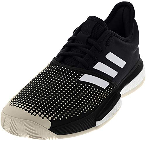 adidas Men's SoleCourt Boost Clay Tennis Shoe, Black/White/raw...