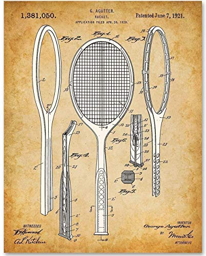Tennis Racket - 11x14 Unframed Patent Print - Makes a Great Gift...