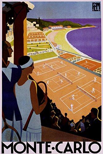 (24x36) Monte Carlo Tennis Vintage Ad Art Print Poster